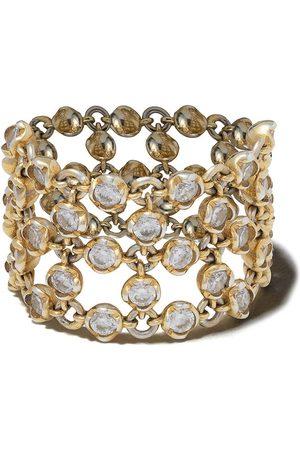ANNOUSHKA 18kt 'Net' Gelbgoldring mit Diamanten und Perlen