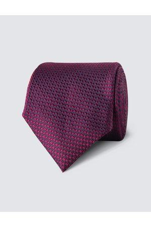 Hawes & Curtis Herren Krawatte | Seide Standardbreite Webmuster Magenta |