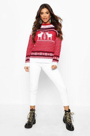 Boohoo Womens Weihnachtspullover Mit Rentier-Norwegermuster - - S/M