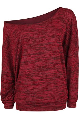 Forplay Damen Strickpullover - Oversize Melange Wideneck Sweater Strickpullover bordeaux meliert