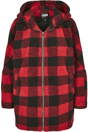 Urban classics Ladies Hooded Oversized Check Sherpa Jacket Winterjacke /