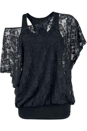 Fashion Victim 2 in 1 Spitzen Shirt T-Shirt