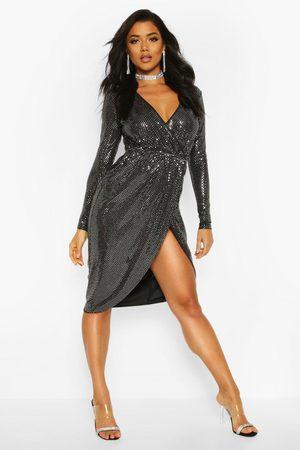 Boohoo Womens Midi-Wickelkleid mit Pailletten und tiefem Ausschnitt - - 32