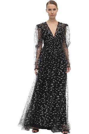 Sandra Mansour V Neck Tulle Dress W/glitter