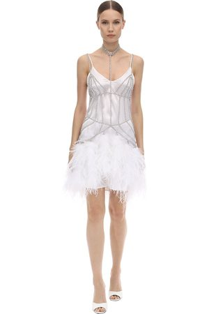 Alessandra Rich Crystal Body Chain Mini Dress W/feathers