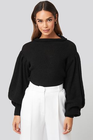 NA-KD Trend Ribbed High Neck Ballon Sleeve Knitted Sweater - Black