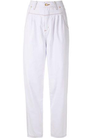 AMAPÔ Damen Straight - Jeans mit Falten