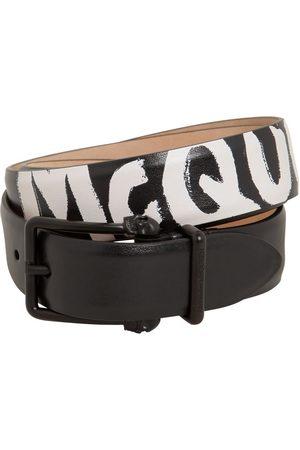 Alexander McQueen Herren Gürtel - 4cm Reversibile Logo Leather Belt