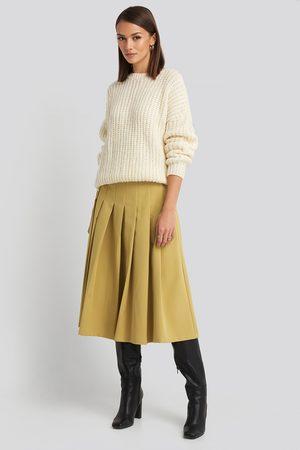 NA-KD Tailored Pleated Midi Skirt - Yellow