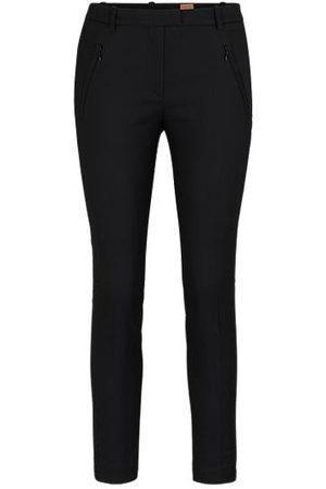 HUGO BOSS Slim-Fit Hose aus Material-Mix mit Baumwolle mit Reißverschluss am Saum