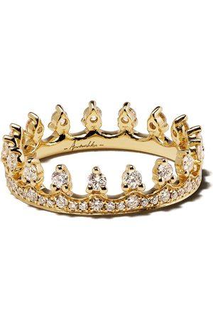 ANNOUSHKA 18kt 'Crown' Gelbgoldring mit Diamanten