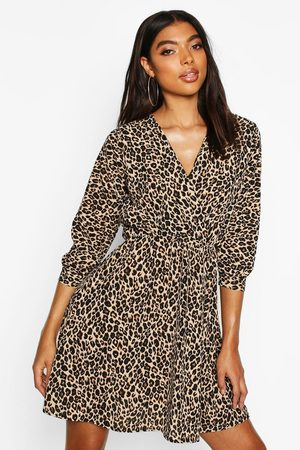 Boohoo Womens Tall Wickelkleid mit Leopardenmuster - 32