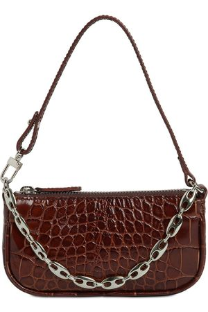 By Far Mini Rachel Croc Embossed Leather Bag