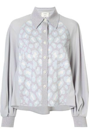 Onefifteen Damen Blusen - Gestrickte Bluse mit Kontrastdetails