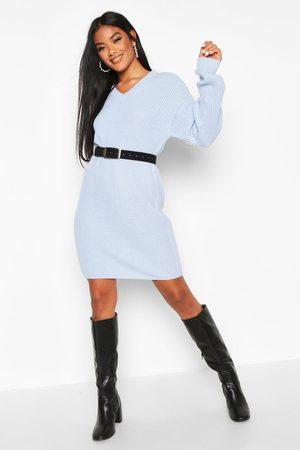 Boohoo Womens Pulloverkleid Im Fischerstil Mit V-Ausschnitt - - S