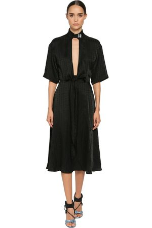 OFF-WHITE Techno Satin Jacquard Midi Dress