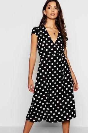 Boohoo Womens Boutique Wickelkleid mit Pünktchen - - 34