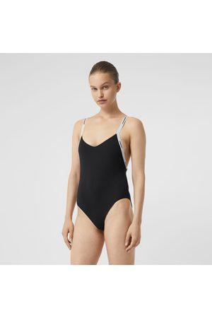Burberry Damen Badeanzüge - Badeanzug mit Logostreifen, Black
