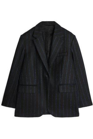 Arket Damen Blazer & Sakkos - Pinstripe Melton Wool Blazer