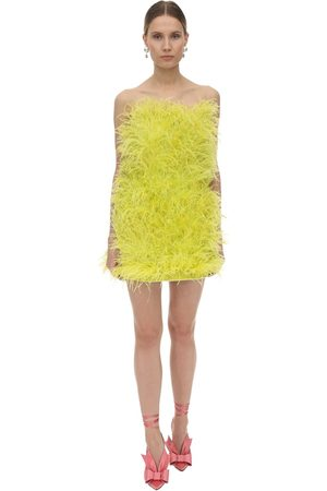 The Attico Strapless Feather Embellished Mini Dress