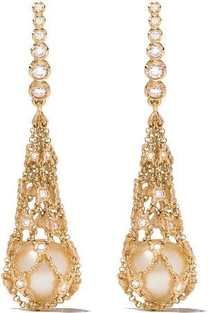 ANNOUSHKA 18kt 'Lattice Net' Gelbgoldohrringe mit Perlen und Diamanten
