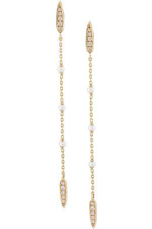Anissa Kermiche 14kt Gelbgoldohrringe mit Perlen und Diamanten