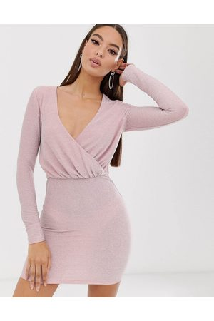 The Girlcode – Langärmliges Glitzer-Minikleid in Blush mit drapiertem Design