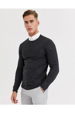 ASOS Herren Strickpullover - – Anthrazitgrauer Strickpullover in Muscle Fit