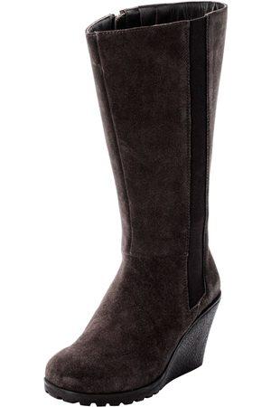 Sheego Große Größen: Weitschaftstiefel aus Leder mit Keilabsatz, dunkelbraun, Gr.40