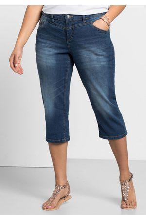 Sheego Große Größen: Schmale Capri-Stretch-Jeans, blue Denim, Gr.44