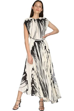 Proenza Schouler Pleated Print Crepe Wrap Around Dress