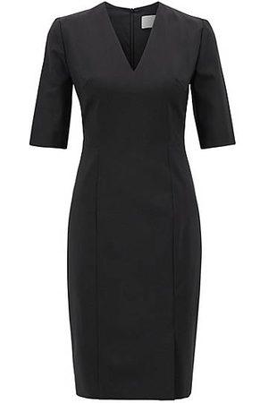 HUGO BOSS Kleid aus italienischer Stretch-Schurwolle mit V-Ausschnitt
