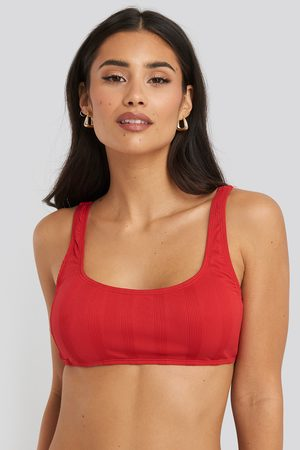 NA-KD Wide Ribbed Bikini Top - Red