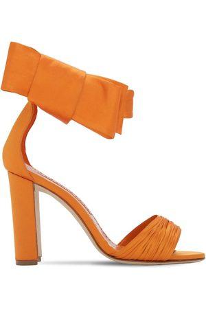 Manolo Blahnik 105mm Misam Os Tondo Satin Sandals