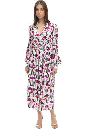Borgo De Nor Printed Satin Jacquard Midi Dress