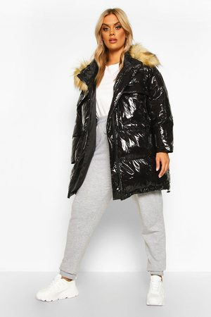 Womens Plus wattierter Puffer Parka mit Kapuze aus Fake Fur 44