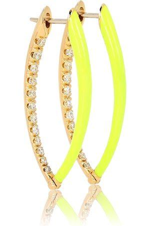 Melissa Kaye Creolen Cristina aus 18kt Gelbgold und Emaille mit Diamanten