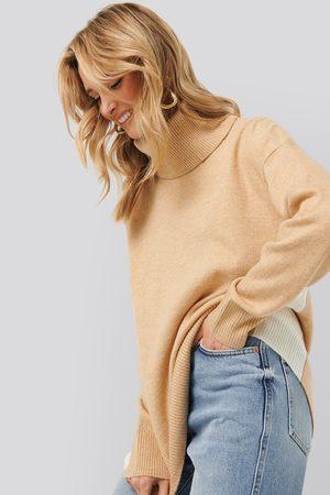 MANGO Blocked Sweater - Brown