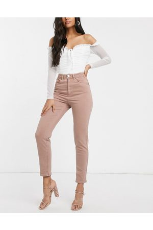ASOS – Farleigh – Schmale Mom-Jeans mit hoher Taille in Staubrosa
