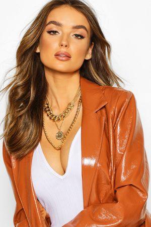 Boohoo Womens Mehrlagige Halskette Mit Anhänger Und Choker - - One Size