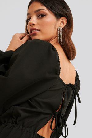 NA-KD Damen Jumpsuits - Square Neck Open Back Jumpsuit - Black