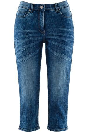 Bonprix Damen Capris - Capri-Jeans mit Bequembund im Used-Look