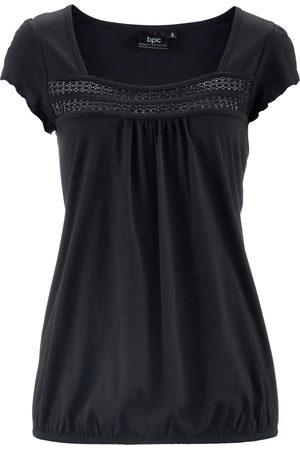 bonprix Mädchen T-Shirts - Baumwoll-Shirt mit Spitze, Kurzarm