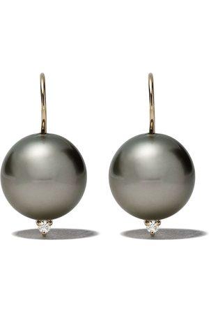 Mizuki 14kt Goldohrringe mit Perle und einem Diamanten