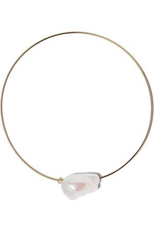 Mizuki 14kt Gelbgoldhalskette mit Perle und einem Diamanten