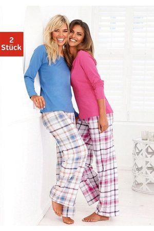 ARIZONA Damen Schlafanzüge - Schlafanzug (2 Stück) mit Hose im Karodesign