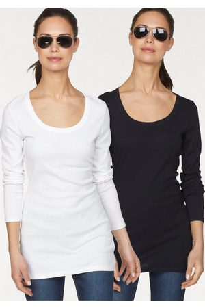 FLASHLIGHTS Damen Longsleeves - Langarmshirt (Packung, 2-tlg) in Longform