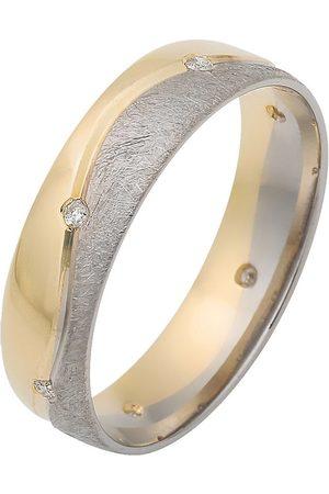 Firetti Trauring mit Gravur »glanz, eismatt, Diamantschnitt in Wellenoptik, bicolor, 5,0 mm breit«, Made in Germany