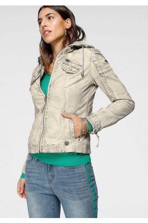 KangaROOS Damen Lederjacken - Lederjacke mit Kapuze aus Shirt-Ware