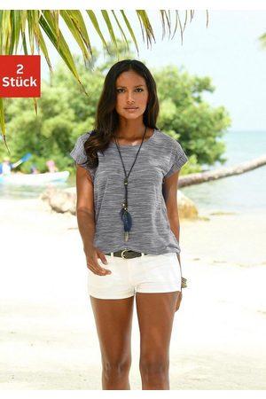 beachtime T-Shirt (2er-Pack) mit farbigem Struktureffekt